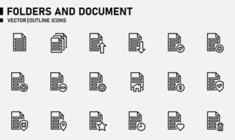 Ordner und Dokumentumriss-Symbolsatz vektor