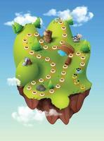 Level-Auswahl-Spielmenüszene mit Schaltflächen, die Balken und Sterne pro Vektor laden