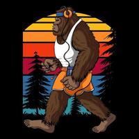 Bigfoot läuft Retro Vektor-Illustration vektor
