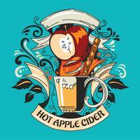 Handdragen Doodle Hot Drink Apple Cider