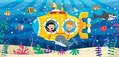 Cartoon-U-Boot unter dem Meer vektor