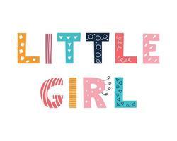 buntes helles beschriftendes kleines Mädchen im Gekritzelstil auf einem weißen Hintergrundvektorbilddekor für Kinderplakate Postkarten Kleidung und Innendekoration vektor