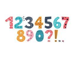 helle mehrfarbige Zahlen mit Satzzeichen im Stil der Kritzeleien auf einem weißen Hintergrund niedlichen Vektor gesetzt von 0 bis 9 Dekor für Kinderplakate Postkarten Kleidung und Interieur
