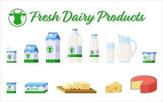 flache Stilikonen der Milch- und Milchprodukte, die lokalisiert auf weißem Hintergrund gesetzt werden vektor