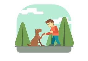 Junge und seine Hundvektorillustration
