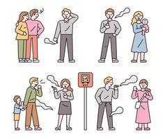 Menschen, die an öffentlichen Orten rauchen und ihre Umgebung schädigen. flache Design-Stil Minima vektor