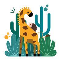 Nette Giraffe und Stachelschwein unwahrscheinlich paar