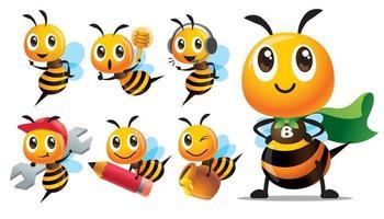 Cartoon niedliche Superheldenbiene mit Umhang und anderen Bienen in verschiedenen Posen vektor