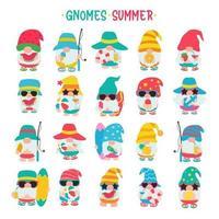Zwerge Sommerzwerge tragen Hüte und Sonnenbrillen für Sommerausflüge zum Strand vektor