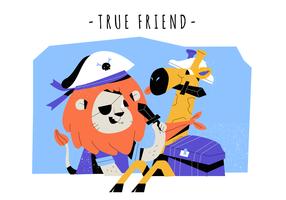 Sann Vänskap Söt Lejon Och Giraff Vector Karaktär Platt Illustration