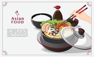Sukiyaki im heißen Topf an der Restauranthand, die Essstäbchen hält, die Shabu-Vektorillustration essen vektor
