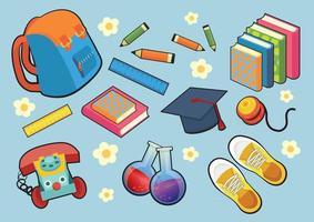 Kind stopft Kinder Objekt Briefpapier und Uniform alle Spielzeuge vektor