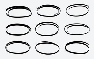 Hand gezeichnete Kreislinie Skizze Vektor Set kreisförmige Kritzeleien Gekritzel rundes Design