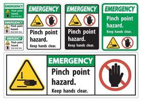Notklemmpunkt Gefahr Hände frei Symbol halten vektor