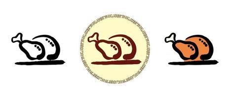 Umriss und farbige und Retro-Symbole des gebackenen Truthahns vektor