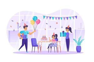 Familie, die Geburtstagskonzeptvektorillustration von Personencharakteren im flachen Design feiert vektor