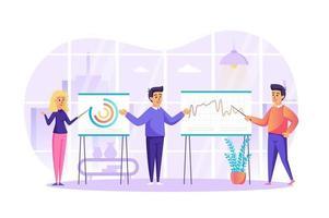 Big-Data-Analyse und Marktforschungskonzept Vektor-Illustration von Personen Zeichen in flachem Design vektor