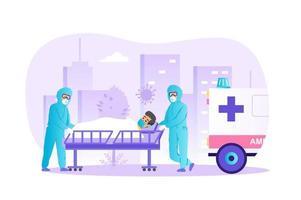 Coronavirus-Patient wird durch Krankenwagenkonzeptvektorillustration von Personencharakteren im flachen Design ins Krankenhaus eingeliefert vektor