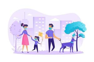 Familie in der medizinischen Maske, die mit Hundekonzeptvektorillustration von Personencharakteren im flachen Design geht vektor