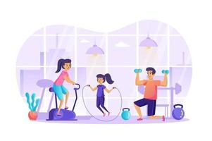 Sportfamilie, die Fitness im Fitnessstudio-Konzeptvektorillustration von Personencharakteren im flachen Design tut vektor