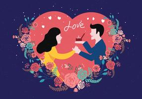 Förlovningsförslag Illustration Vektor