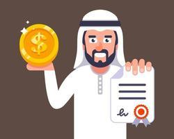 Der arabische Geschäftsmann bietet an, eine Vertragsjobeinladung zur Illustration des flachen Vektorzeichens von Dubai abzuschließen vektor