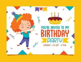 niedliche bunte Geburtstagskartenschablone vektor