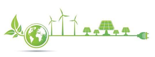 Ökologie und Umweltkonzept Erdsymbol mit grünen Blättern um Städte helfen der Welt mit umweltfreundlichen Ideen vektor