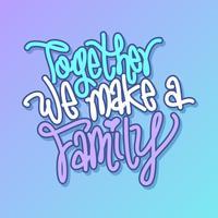 Freie Hand zusammen machen wir einen Familien-Verpflichtungs-Vorschlags-Vektor vektor