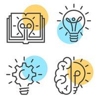 Sammlung von linearen Stilikonen mit gelben Kreisen, die Kreativität und Idee und Innovationskonzept auf weißem Hintergrund darstellen vektor