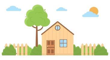 Vektorillustration eines Landhauses in einem flachen Stilhausikone lokalisiert auf weißem Hintergrund flaches Designvektorillustrationskonzept des Landlebens in der Natur vektor