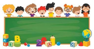 lustige Kinder mit leerer Tafel vektor