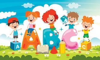 glückliche Kinder lernen und lernen vektor