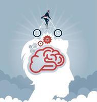Geschäftsmann, der ein Fahrrad mit Zahnrädern auf Kopf reitet. Geschäftskonzeptvektor vektor