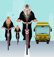 Geschäftsmann, der Fahrrad fährt, um Vektor zu arbeiten
