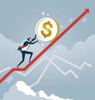 Geschäftsmann rollt eine Dollarmünze auf Pfeil auf. Geschäftskonzeptvektor vektor