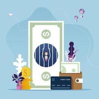 Geschäftsmann im Geldgefängnis. Geldproblem Finanzkonzept vektor