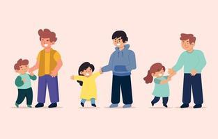 Satz von Vater- und Kindercharakteren vektor