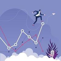 Geschäftsmann springt auf höhere Ebene der Grafik. Geschäftswachstumskonzept vektor