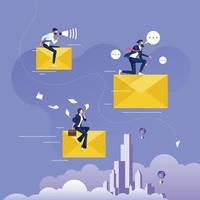 Geschäftsmann reitet große fliegende E-Mail oder Umschlag. Geschäftskommunikationskonzept vektor