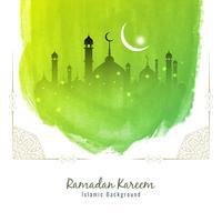 Abstrakter Ramadan Kareem grüner Aquarellhintergrund vektor