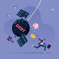 Geschäftsmann versucht, der Verschuldung zu entkommen. Geschäftsfinanzkonzept vektor