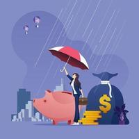 Geschäftsfrau mit Regenschirm, der Geld vor wirtschaftlichen Problemen schützt vektor