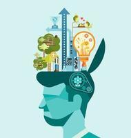 Ökologie. denke grüner menschlicher Geistesvektor vektor