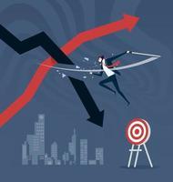 Verlust verlieren. Aktienmarktstrategie durch Stoppen von Verlusten vektor