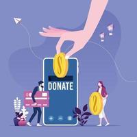 Geld spenden durch Online-Zahlungen. Spendenkonzept für wohltätige Zwecke vektor