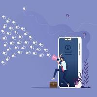 Social Media Marketing-Konzept. Geschäftsmann mit Megaphon zieht Kunden wie Ikonen in das Geschäft vektor