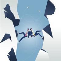 Unternehmenspartner bewegen sich Rücken an Rücken nach oben. Business-Teamwork-Konzept vektor