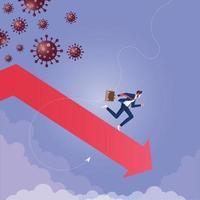 Coronavirus Economy Impact-Konzept. Wirtschaft runter und fallen vektor