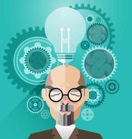 Kopf mit kreativem Gehirnideenkonzeptvektor vektor